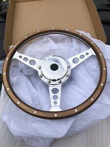 Classic-Austin-Mini-Woodrim-Steering-Wheel-Inc-Polished-Boss-14-In-Semi-Dish