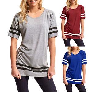 Womens-Summer-Short-Sleeve-T-shirt-Striped-Loose-Shirts-O-Neck-Blouse-Long-Tops