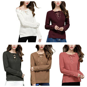 593ed29957 Women Lace Up Front V-Neck Sweater Long Sleeve Knit Jumper Tops ...