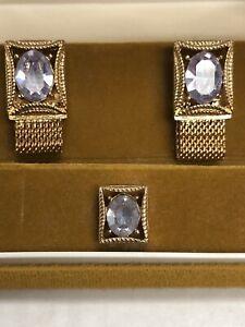 Vintage-SWANK-Cuff-Link-Tie-Tack-Wrap-Around-Set-Gold-Tone-ALEXANDRITE-June-NOS
