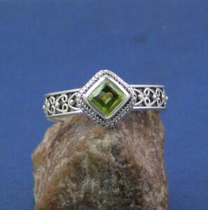 Peridot Gemstone Handmade Minimalist Ring 925 Sterling Silver