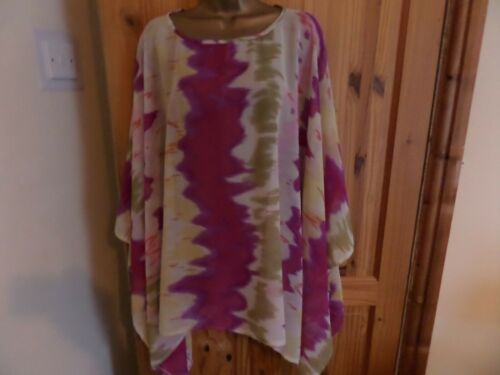 polyester  print-one size OVERSIZE PONCHO//TOP//COVER UP