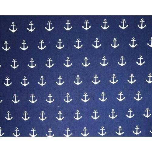 100/% Cotton Fabric Anchors Nautical Sailors Sailing Beach Sea 145cm Wide