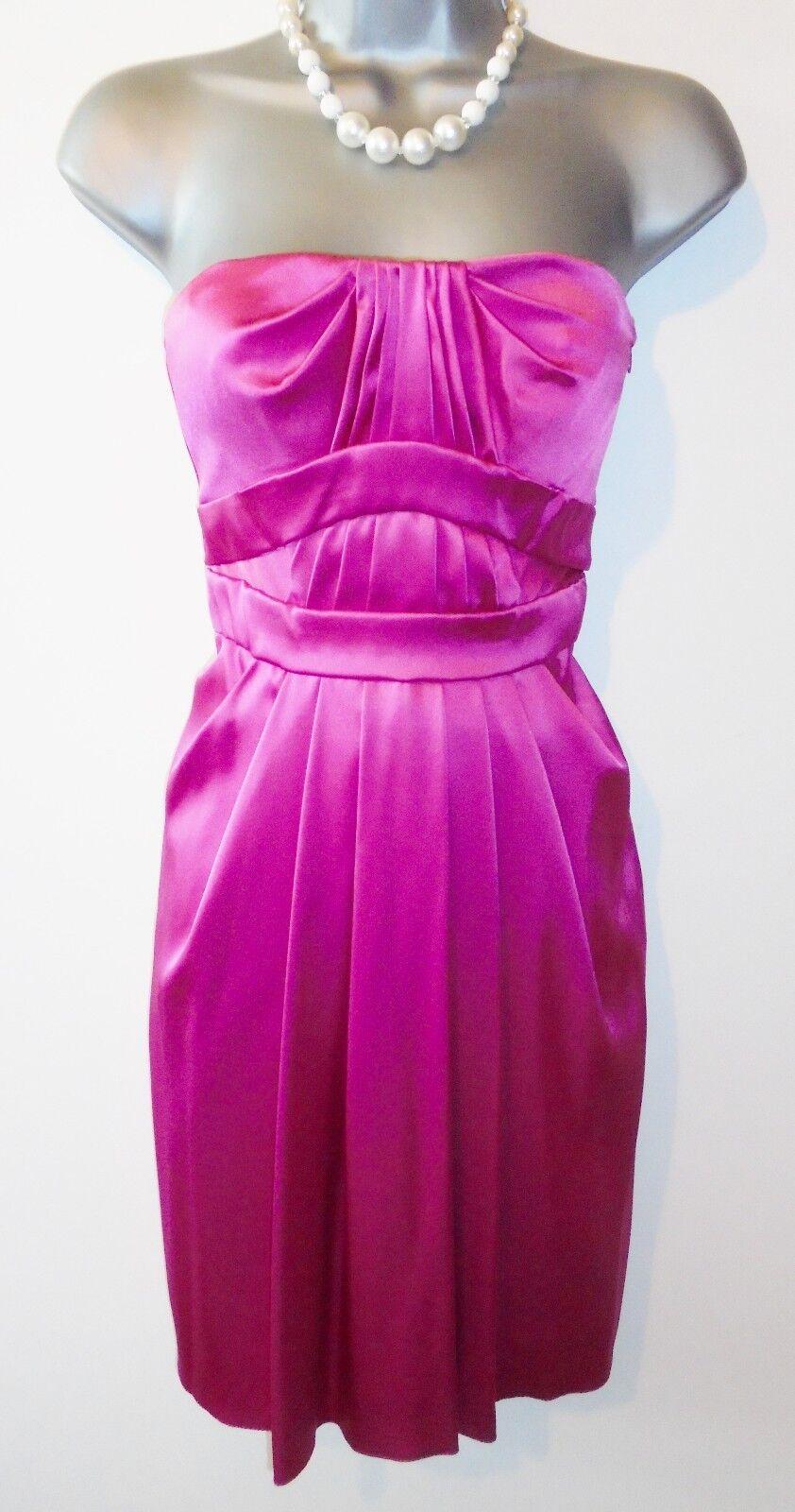 BNWT Karen Millen DC134 Fuchsia Pink Satin Evening Occasion Dress Size 8 NEW