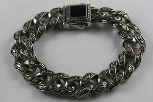 Wide-Bracelet-Black-Stone-21-cm-Long-Link-Chain-Stainless-Steel-605