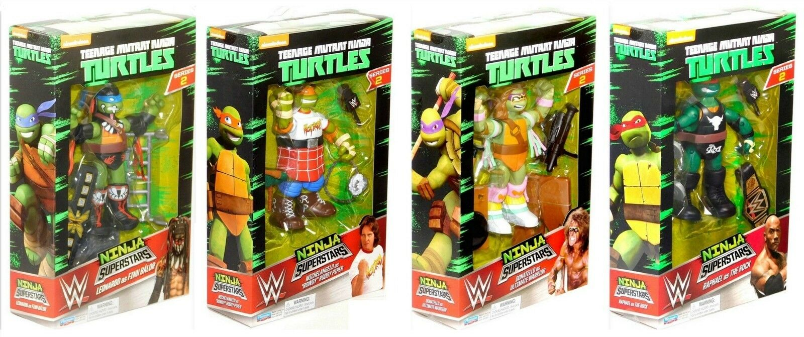 WWE Ninja Superstars Teenage Mutant Turtles Series 2 Complete 4 Figure Set