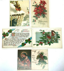 Lot-5-Vintage-1950s-Christmas-Post-Cards-A-Sunshine-Card-Reproduction-of-Antique