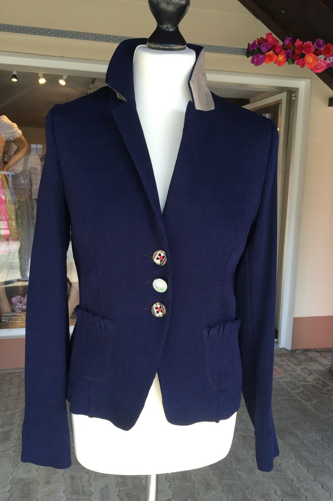 Blazer Jacke, von & zu Basset, Gr 40, Trachtenjacke, marine, dunkelblau, taupe