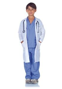 CHILD-KIDS-DOCTOR-SURGEON-SCRUBS-LAB-COAT-COSTUME-SIZE-S-4-6-with-defect