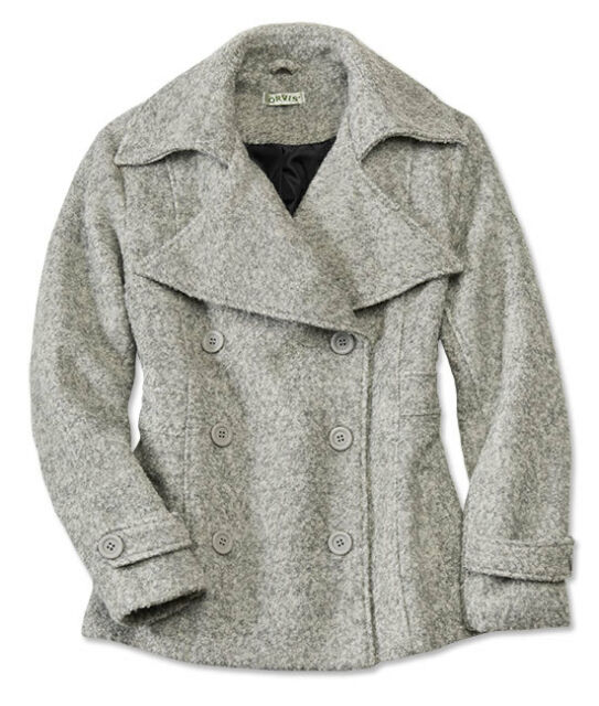 1a30dd3792a Details about NEW ORVIS GRAY HEATHERED DOUBLE BREASTED WOOL BLEND BOUCLE  PEACOAT COAT SZ M