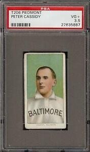 Rare-1909-11-T206-Peter-Cassidy-Piedmont-350-Baltimore-PSA-3-5-VG