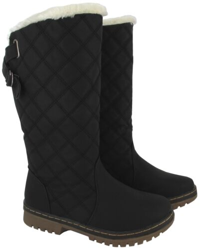 LADIES SNOW BOOT FAUX FUR LINNED MID CALF WINTER GRIP SOLE QUILTED WARM BOOTS SZ