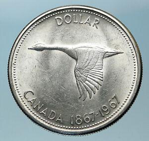 1967-CANADA-Confederation-Founding-OLD-Goose-Genuine-Silver-Dollar-Coin-i83802