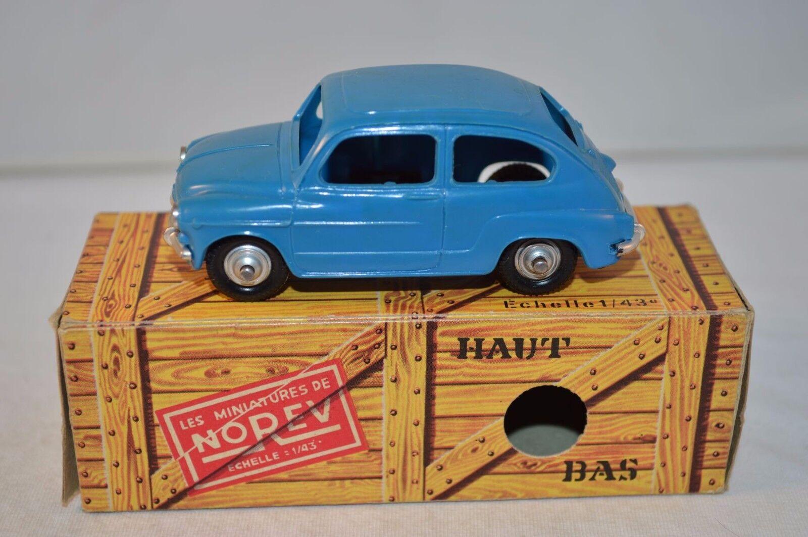 Norev 61 Fiat 600 plastique bleu perfect mint in box superb