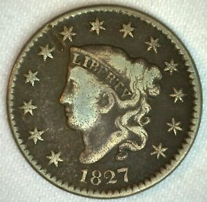 1827-Coronet-Head-US-Large-Cent-Copper-Coin-VG-Very-Good-Grade-1c-US-Penny-Coin