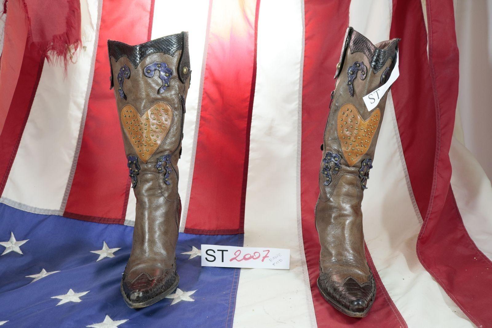 Stivali (Cod. ST2007) USATO N.37 women Pelle brown texani WESTERN cowboy bike