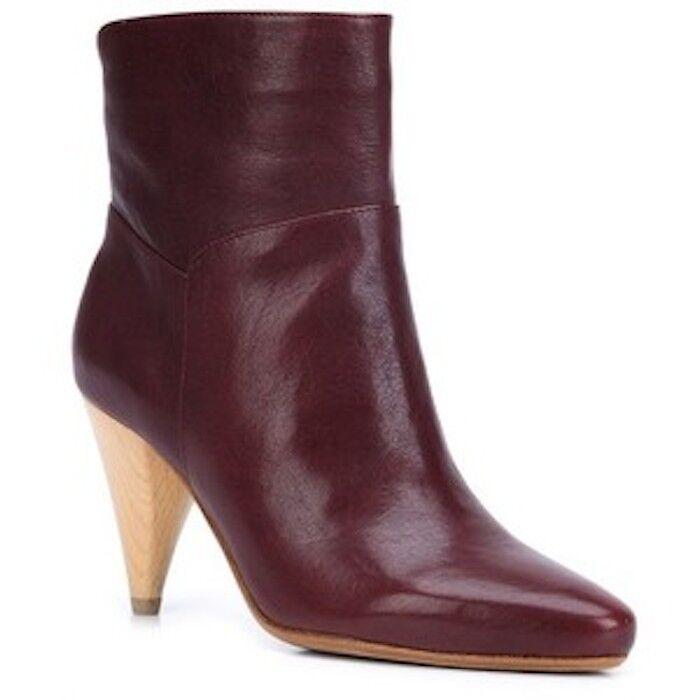 DEREK LAM 10 CROSBY Dannie Cone Heel Booties Ankle Bootie Boot Burgundy 9.5 NEW