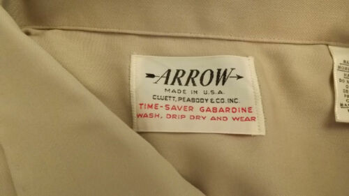 NOS Arrow Loop Collar Rayon Shirt Vtg Time Saver G