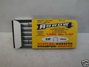 """PACK OF 1000 X 10MM  3//8/"""" ARROW T-37 T37 ROUND CROWN WIRE AND CABLE STAPLES"""