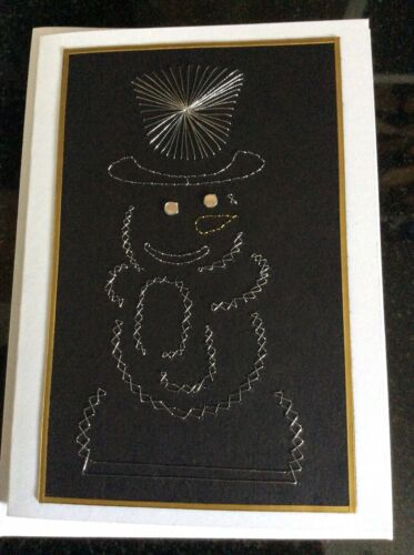Luxury Hand Stitched Christmas Card Metallic Snowman
