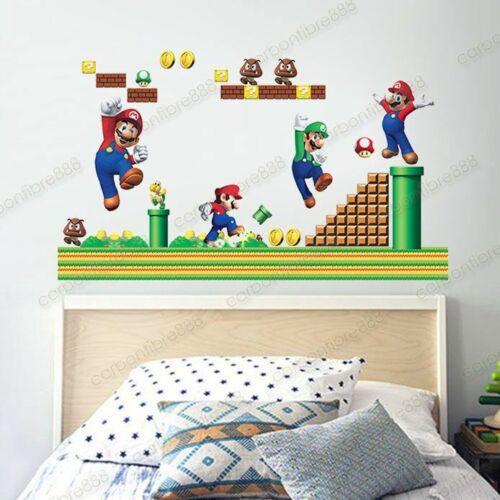 Super Mario Bros Wall Sticker Children Kids Game Boys Playroom Bedroom Decor
