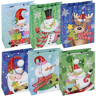 Christmas Gift Present Bags 6 Assorted Santa Snow Man Xmas Blue Green Holiday