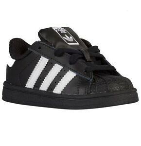 Details about Adidas Superstar Infant Toddler Size Black and White B23638 Shell Toes Gold k c