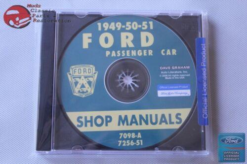 1949-51 Ford Passanger Car Shop Repair Manuals CD Rom Disc PDF New