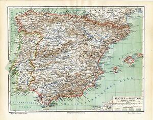 Spanien Karte Küsten.Details Zu Spanien Portugal Land Atlantik Grenzen Küsten Klima Original Karte Von 1892