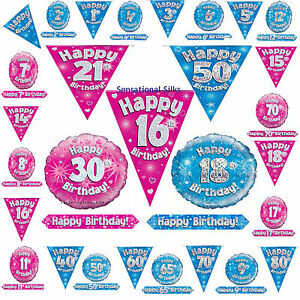 Eleganza-Pink-Blue-Holographic-Foil-Birthday-Banner-Bunting-Balloon-Age-1-80