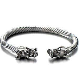 Mens-Dragon-Bracelet-Stainless-Steel-Twisted-Cable-Bangle-Cuff-Bracelet-Polished