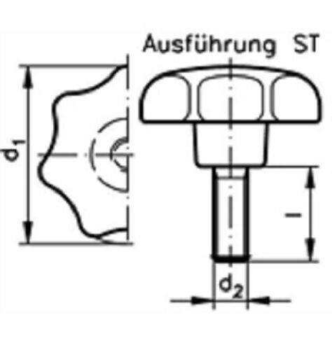 100x M12x40 Sterngriff Kreuzgriff Klemmhebel Klemmmutter Griff Sternschraube