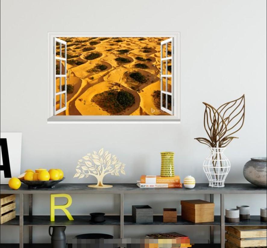3D Gelb Desert 58 Open Windows Mural Wall Print Decal Deco AJ Wallpaper Ivy