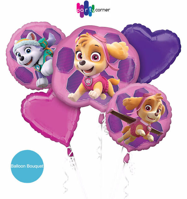 Paw Patrol Girl Pink Party Supplies BALLOON BOUQUET Pack Of 5 Helium Anagram
