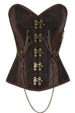 XXL Brown Metal Lock & Chains Corset Renaissance Steampunk Costume Steel Boning