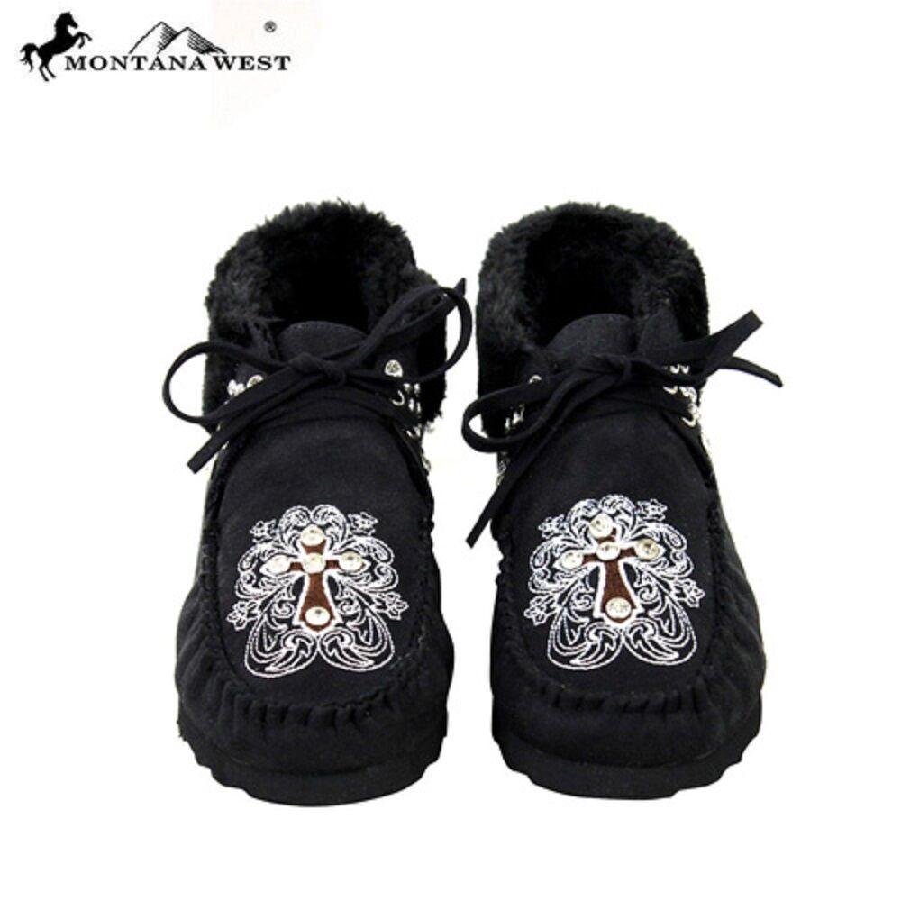 MONTANA WEST CROSS WESTERN ANKLE BOOTS MOCCASINS BLACK Damenschuhe Schuhe 7 8 9 10 11