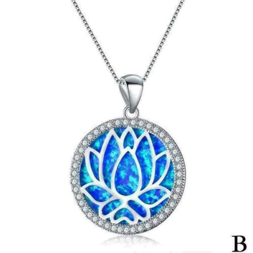 und Weiserunde blaue Feuer-Opal-hohle Lotos-Kettenanhänger-Halskette W M7R8 Art