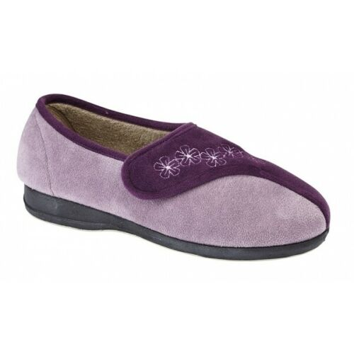 Sleepers GEMMA Ladies Womens Soft Velour Two Tone Touch Fasten Full Slippers