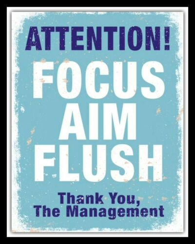 "10 x 8/"" ATTENTION FOCUS AIM FLUSH LOO TOILET BATHROOM METAL PLAQUE TIN SIGN N279"