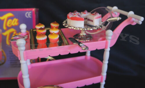 NEW GLORIA DOLL HOUSE FURNITURE SIZE TEA CART 4 Servings PLAYSET For Barble