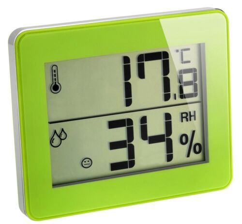 Digitale Igrometro TFA 30.5027 VERDE ROSSO BLU clima controllo con stile