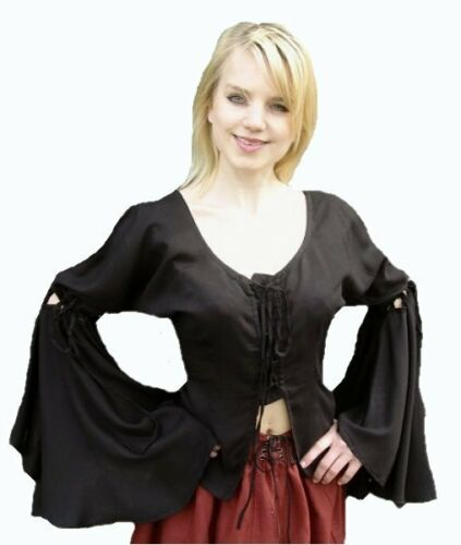 Gothic Mittelalter Top Mieder Bluse Vampire schwarz Carmen S-XXXL