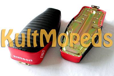 Simson Sitzbank S51 S50 S70 E Enduro Sitz strukturiert schwarz rot lang 2 Person