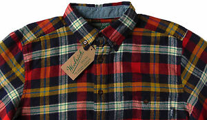 Men-039-s-WOOLRICH-Navy-Red-Colors-Plaid-Flannel-Cotton-Shirt-X-Large-XL-NWT-NEW