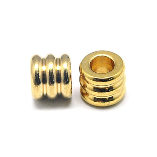 20x Gold Plated 304 Stainless Steel Metal Beads Large Hole Grooved Spacers 9x8mm