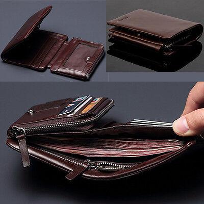 100% Brand New  Men's Top ITALIAN Genuine Leather Trifold Wallet  Purse Luxury
