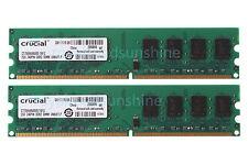 NEW Crucial 4GB 2X 2GB DDR2 2RX8 800MHz PC2-6400U DIMM intel RAM Desktop memory