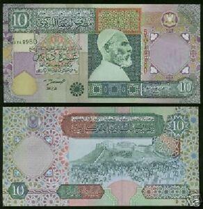 OMER MUHTAR AUNC // UNC LIBYA 10 DINARS 2002 P-66