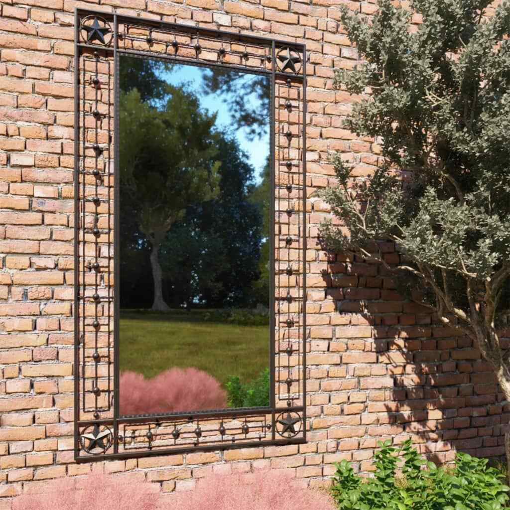 Garden Wall Mirror Arched Black Home Outdoor Window Illusion Vintage Decor Large