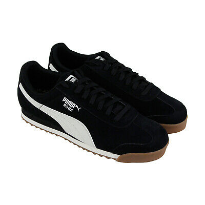 Puma Roma Smooth Nubuck 36845504 Mens Black Classic Low Top Sneakers Shoes